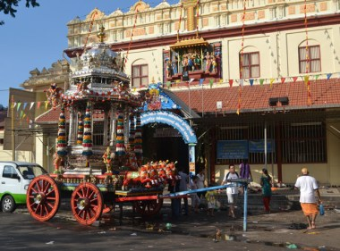 Silver Chariot on Third Day of Thaipusam in Penang, Southeast Asia