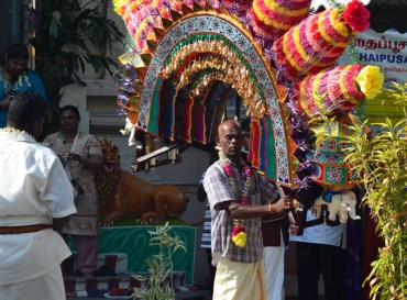 Lifting Kavadi, Quiet Thaipusam in Georgetown, Penang, Southeast Asia