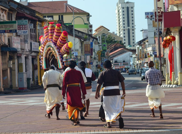 Carrying Kavadi, Quiet Thaipusam in Georgetown, Penang, Southeast Asia