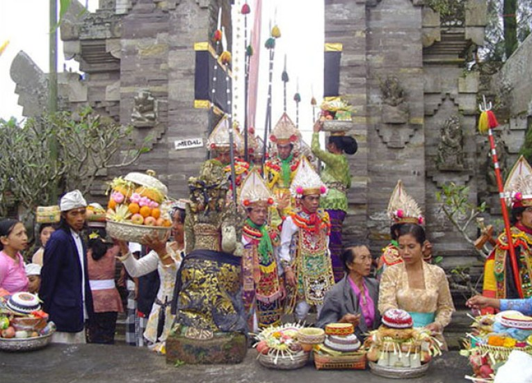 Obalan Ceremony, Ulun Danu Batur Temple Ceremony, Bali Southeast Asia