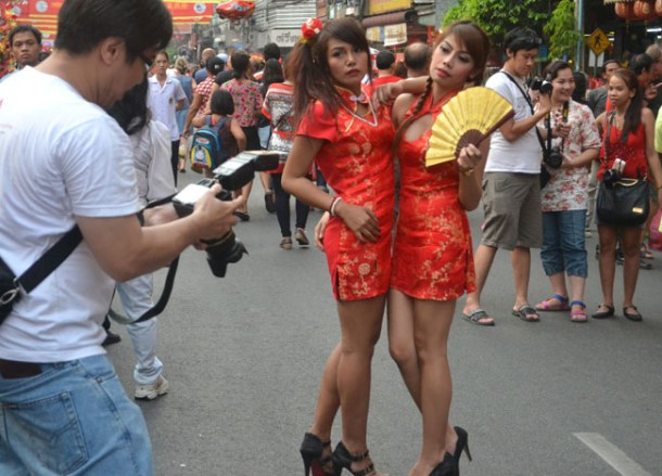 Red Silk Dress, Chinese New Year in Bangkok Chinatown, Yaowarat