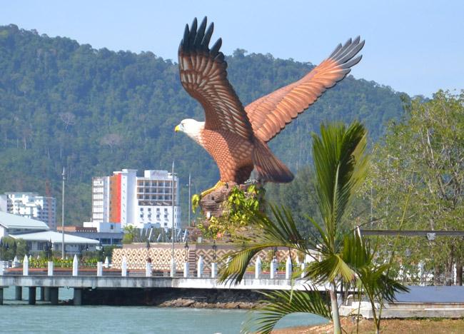 Eagle on Kuah Pier. Langkawi to Bangkok via Satun, Southeast Asia