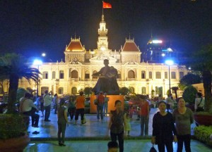 Ho Chi Minh City Hall Fountain at Night, Saigon, Southeast Asia
