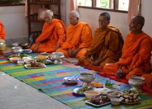 Monks Eating Tak Baht, Buddhist Monk Blessing Ceremony for Health, Thailand