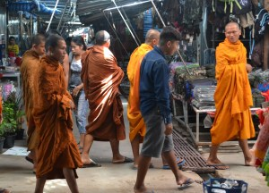 Monks at Chong Chom Market, Thailand-Cambodia Border Crossing, SE Asia