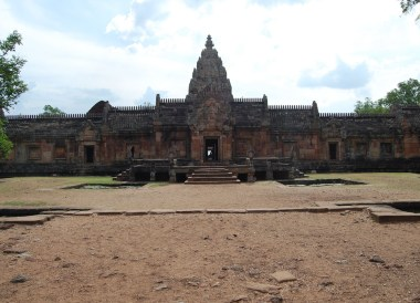 Arriving to Front of Phanom Rung Ancient Khmer Temples Thailand