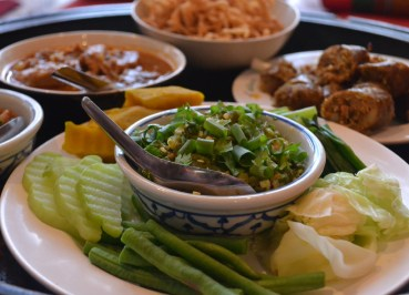 Round Khantoke Table, Northern Thai Food, Lanna Food, Eating in North Thailand, Asia