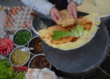 Chinese Crepe Breakfast, Top Ten Chinese Street Food in Xian China