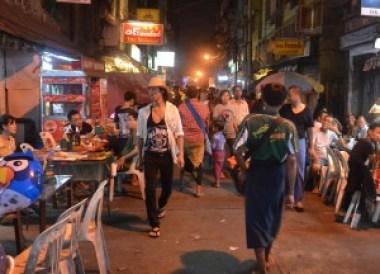 Eating Kosan 19th Street, Thingyan Water Festival in Yangon, Myanmar Songkran