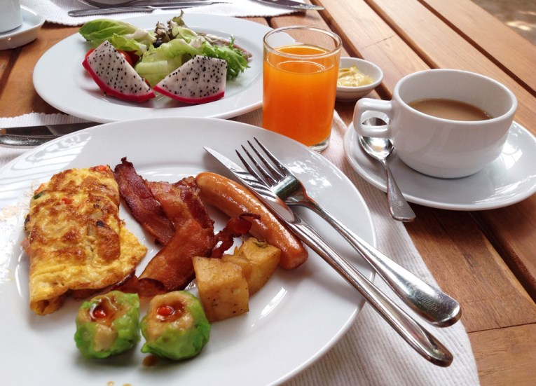 Omelette and Bacon Breakfast, Santhiya Koh Yao Yai Resort Pool Villas, Thailand