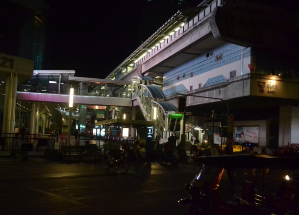 Asoke Skytrain After Midnight, My First Hostel Experience in Bangkok Thailand