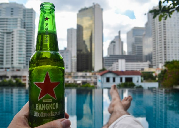 Beer Time at Pool, Living cheap in Bangkok Thailand
