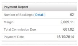 How to Make a Living from Travel Blogs, Affiliate Payment Report
