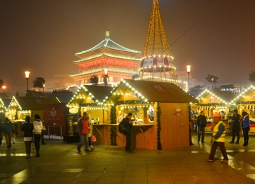 Bell Tower Market. Celebrating Christmas in Xian China