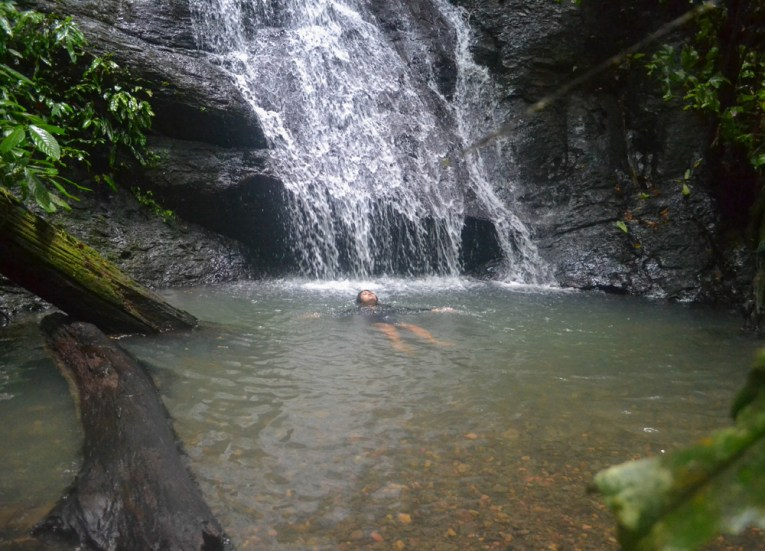 Floating in Waterfall in Brunei, Phobias in Borneo Rainforests