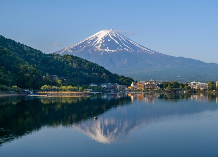 Morning Scene, Ryokan Hotels at Mount Fuji, Lake Kawaguchiko Japan