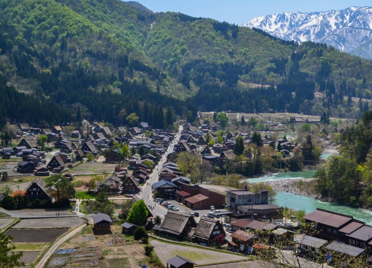 Viewpoint Above, Travel to Shirakawa-go Unesco Village in Spring