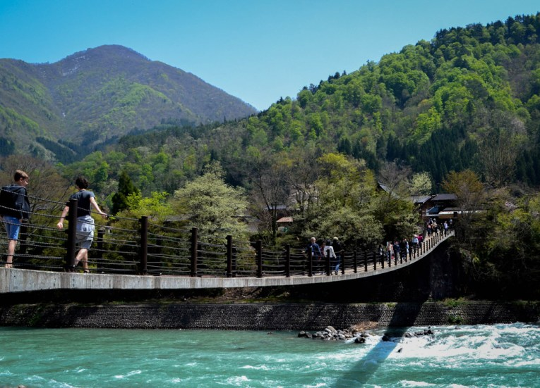 River Rapids, Travel to Shirakawa-go Unesco Village in Spring