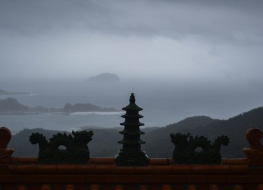 Storms at Sea, Tourist in a Typhoon in Taipei, Taiwan