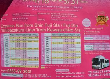 Timetable, Travel to Mount Fuji Shibazakura Flower Festival