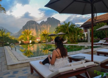 Mountain Karst Views. Luxury Vang Vieng Hotel Riverside Boutique Resort Spa
