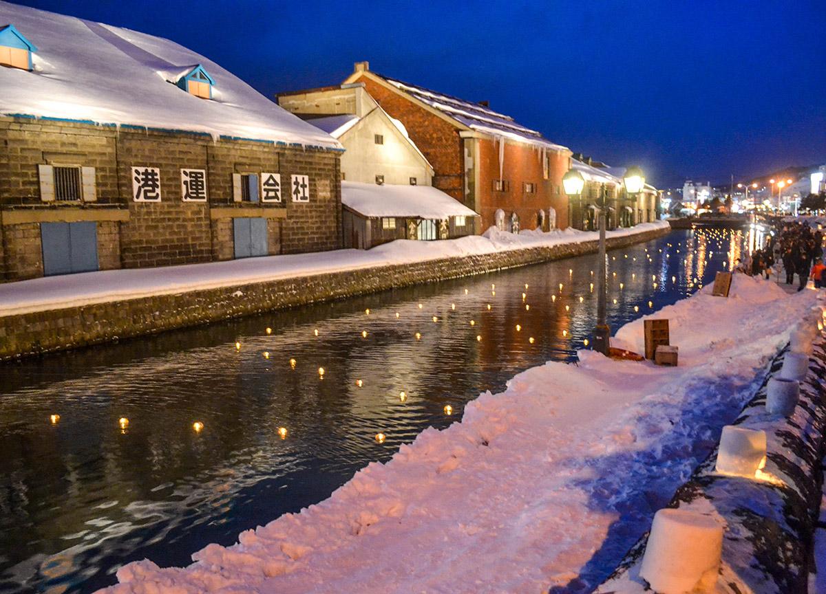 Otaru Snow Light Festival In Hokkaido Japan Train From