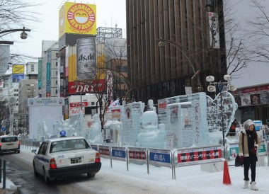 Susukino ice sculptures, 24 Hours at the Sapporo Snow Festival by Rail (JR Pass)