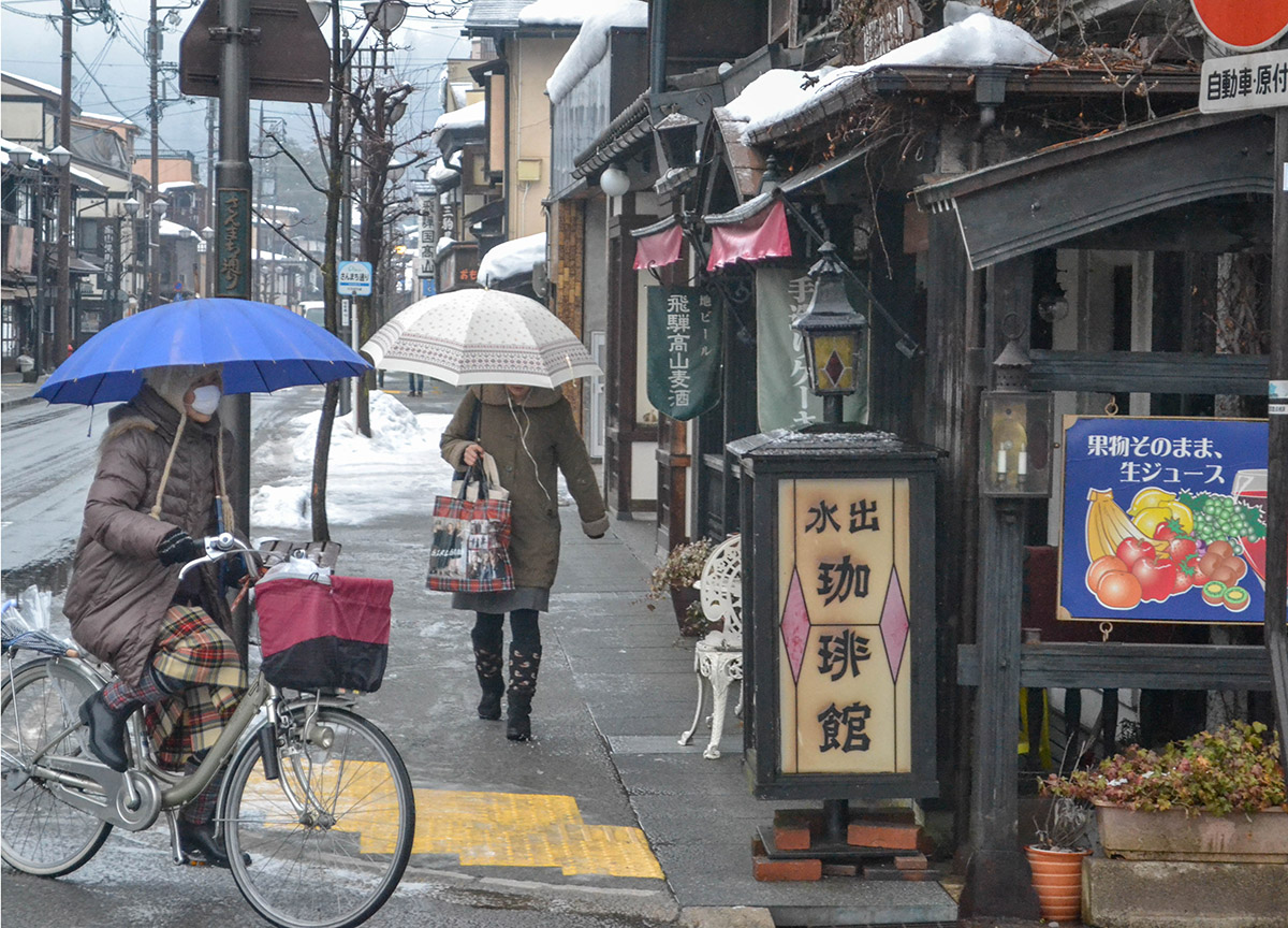 Takayama Old Town, JR Japan Rail Pass Travel in Winter February Snow