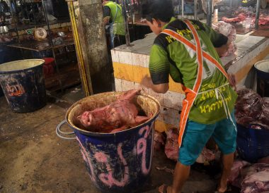 Pig Heads, Fresh Market, Top Attractions in Korat, Nakhon Ratchasima Isaan, Thailand