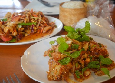 Namtok Moo, Thai Isaan Food, Eating in Northeastern Thailand