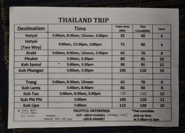 Minivan Times, Best Thai VISA Run to Penang Malaysia