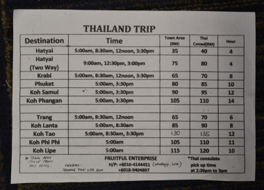 Minivan Times, Malaysia Penang to Hat Yai Thailand by Bus Minivan