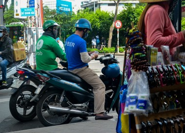 Motorbike Taxis Grab Uber Ride-Hailing in Ho Chi Minh City Vietnam