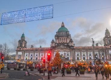 Belfast City Hall at Belfast Christmas Market, Continental Market Northern Ireland