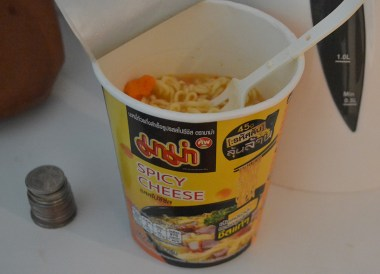Spicy Cheese Noodles, Seven Eleven 7-11 Food in Bangkok Thailand