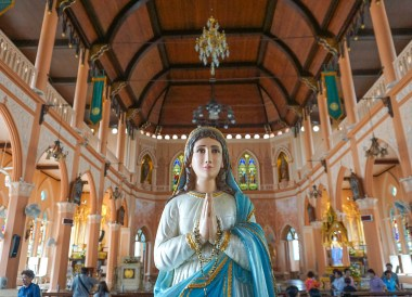 Church at Riverside of Chantaboon Waterfront Community,Travel in Eastern Thailand