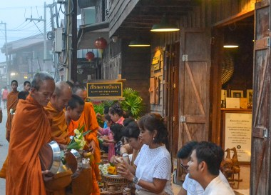 Procession of Monks, Tourist Attractions in Chiang Khan Thailand, Loei Province