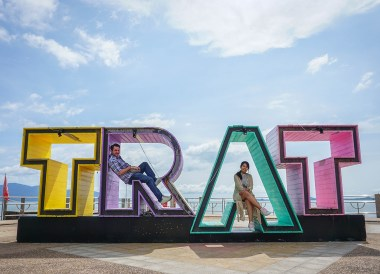 Trat Sign at Laem Ngop Pier Trat, Travel in Eastern Thailand
