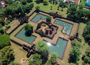 Drone over Muang Tam Temple. Top Tourist Attractions in Buriram Thailand