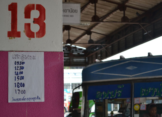 Lopburi Bus Station for Travel to Bangkok in Thailand