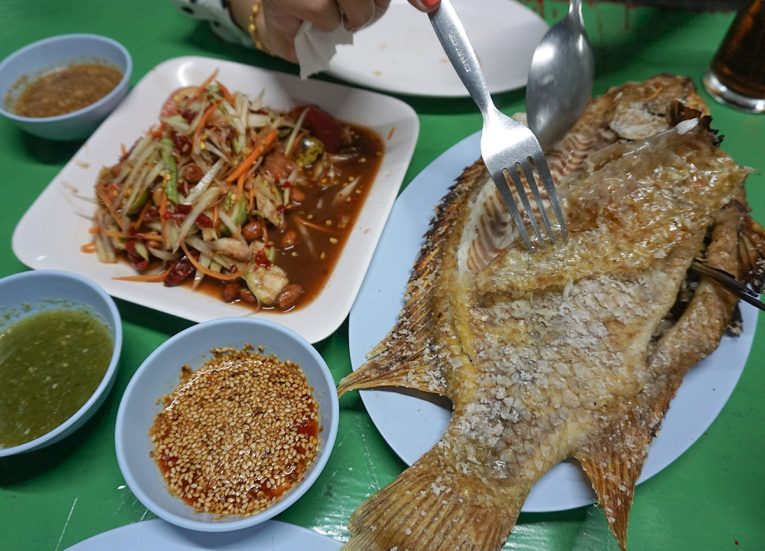 Pla Pao Red Snapper Bangkok Street Food in Thailand