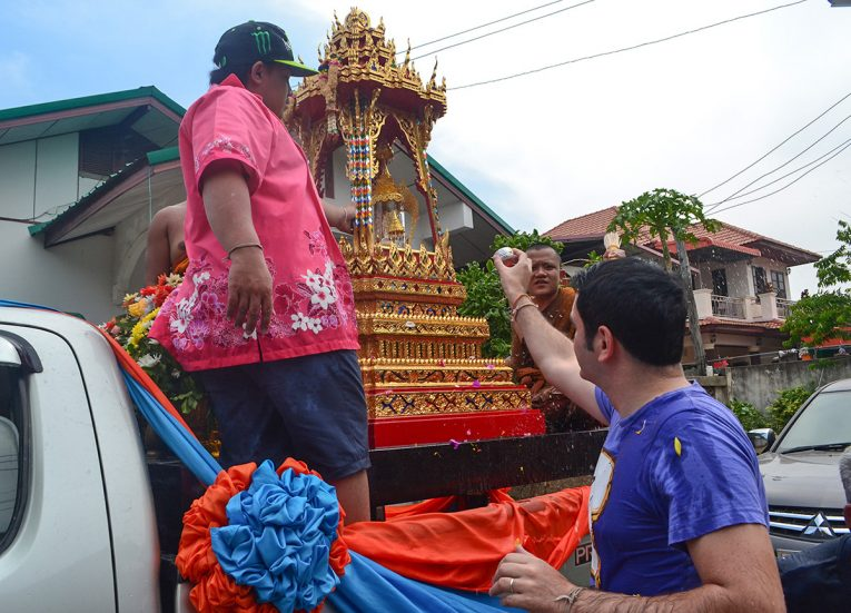 Revered Buddha Statue from Bangkok Procession Songkran New Year Festival in Thailand