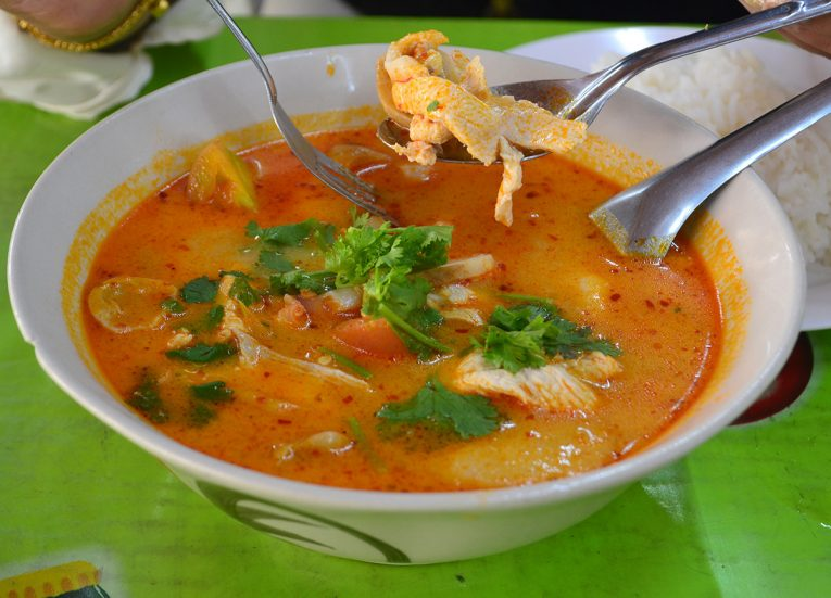 Tom Yum Kai with Chicken Bangkok Street Food in Thailand (