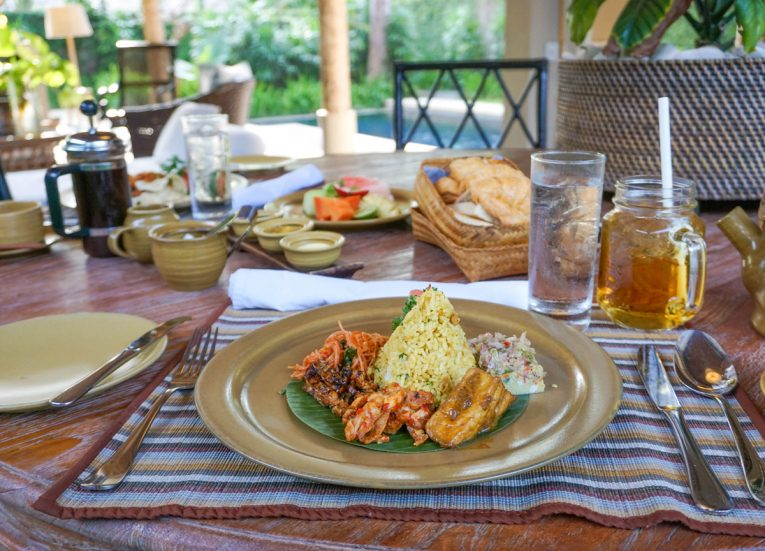 Traditional Balinese Breakfast at Luxury Pool Villas at Kayumanis Sanur Resort in Bali