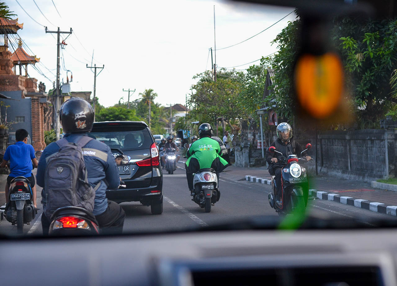 Motorbike Drivers for Hire Go Jek and Grab in Bali Indonesia