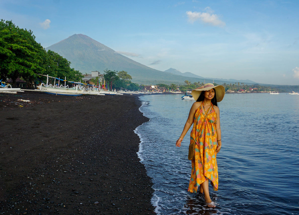 Where to stay in Bali. Views of Mount Agung from Amed Beach in East Bali
