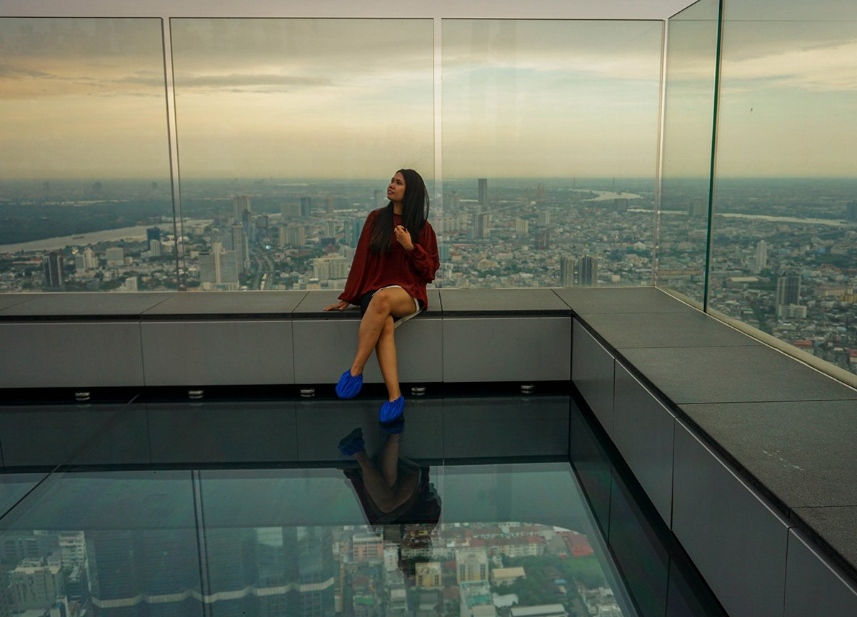 Views from Mahanakhon Skywalk Tallest Building in Bangkok Thailand