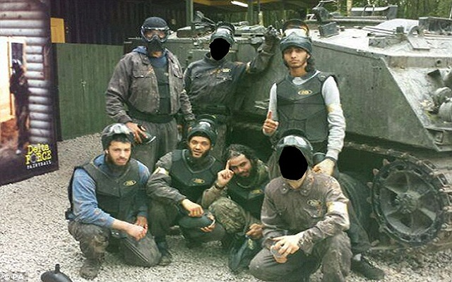 LLL-Live Let Live-British jihadis using ISIS-style salutes at a Midlands paintball centre where they practised shooting before trying to join the terrorist group