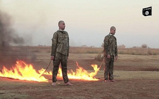 LLL-Live Let Live-ISIS video shows two captured Turkish soldiers made to crawl like dogs before burning them alive