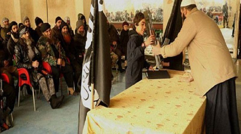 LLL-Live Let Live-ISIS child soldier with an AK47 rifle given by his teacher pledges allegiance to the terrorist group